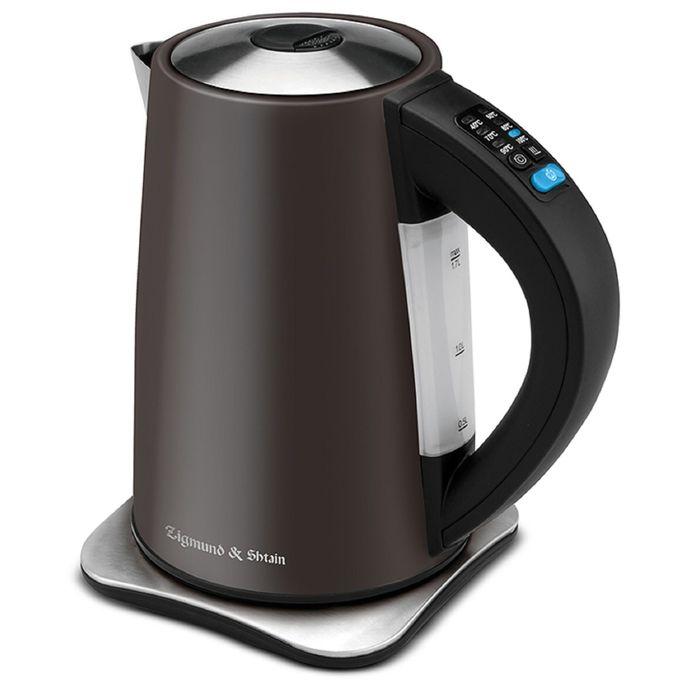 Чайник электрический Zigmund and Shtain KE-82 SD, 2200 Вт, 1.7 л, металл, коричневый