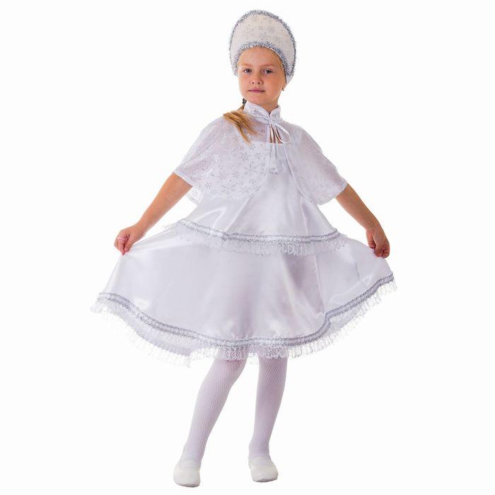 """Карнавальный костюм """"Снежинка"""", сарафан 2-ярусный, пелерина, кокошник, р-р 64, рост 128 см"""