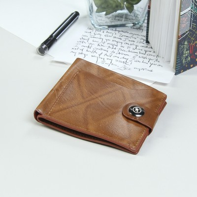 Портмоне мужское на магните, 3 отдела, отдел для карт, 1 наружный карман, цвет коричневый