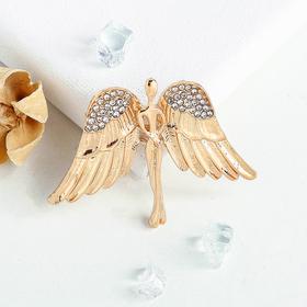 """Брошь """"Ангел"""", цвет белый в золоте"""