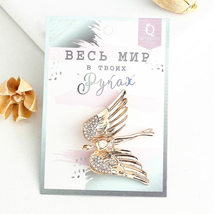 """Брошь """"Ангел"""", цвет белый в золоте - фото 274889736"""