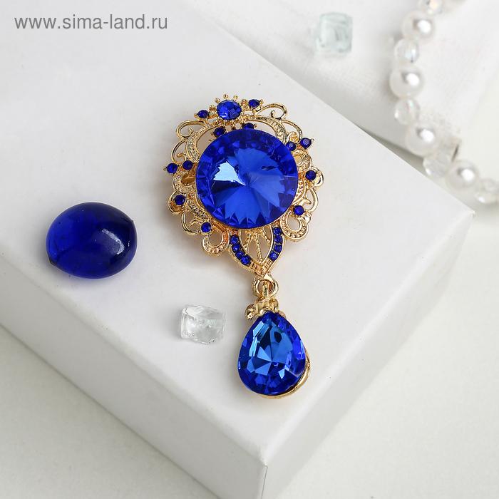 """Брошь """"Овал"""" с каплей, цвет синий в золоте"""