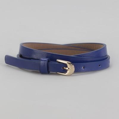 Ремень женский, перфорация, пряжка под золото, ширина - 1см, синий