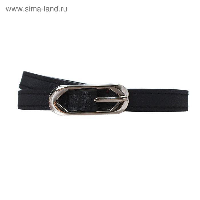 Ремень женский, 2 строчки, гладкий, пряжка - металл, ширина - 1см, чёрный