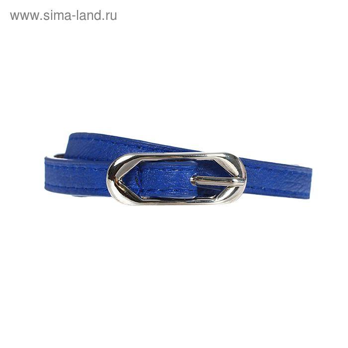 Ремень женский, 2 строчки, гладкий, пряжка - металл, ширина - 1см, синий