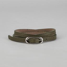 Ремень женский, 2 строчки, гладкий, пряжка - металл, ширина - 1см, зелёный Ош