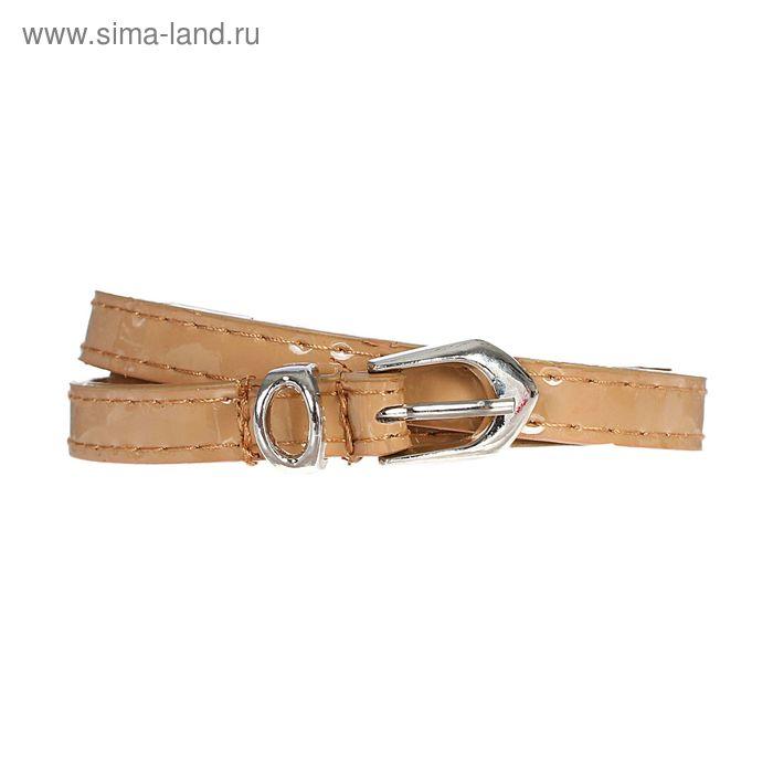 Ремень женский, 2 строчки, гладкий, пряжка - металл, ширина - 1см, хаки