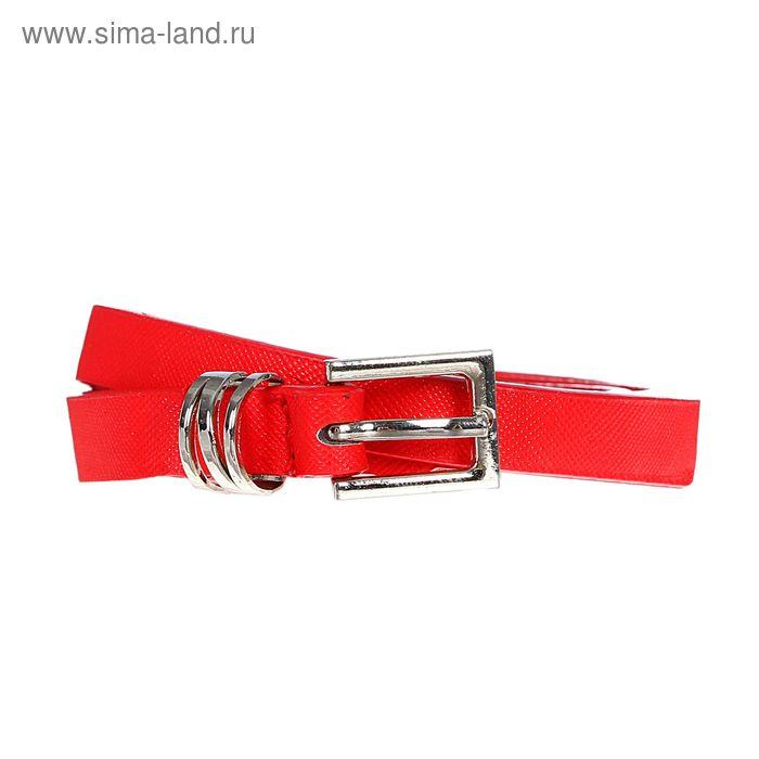 Ремень женский, рябь, пряжка, хомут - металл, ширина - 1см, красный