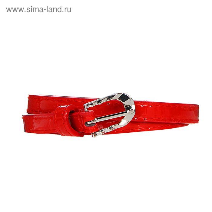 Ремень женский, гладкий, пряжка - металл, ширина - 1, 5см, красный