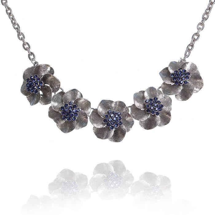 """Колье """"Цветы"""" незабудки, цвет синий в чернёном серебре"""