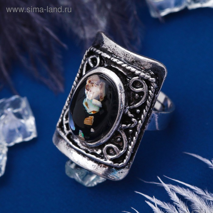 """Кольцо """"Натурель"""" россыпь, цвет зелёный в чернёном серебре, безразмерное"""
