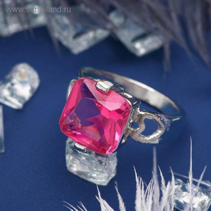 """Кольцо """"Ассорти"""" квадрат, цвет розовый в серебре, размер 17,18,19 МИКС"""
