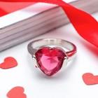 """Кольцо """"Ассорти"""" сердце, цвет малиновый в серебре, размер 17,18,19 МИКС"""