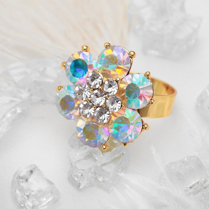 """Кольцо """"Цветочек"""", цвет бело-радужный в золоте, безразмерное"""