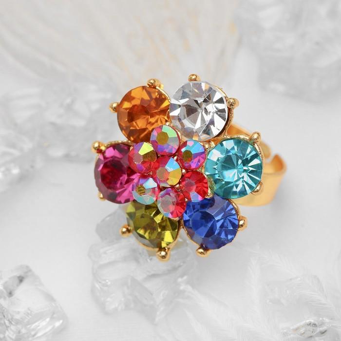 """Кольцо """"Цветочек"""", цветное в золоте, безразмерное"""