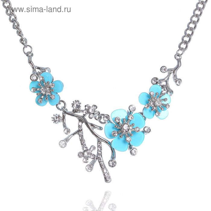 """Колье """"Цветущий сад"""" цветок, цвет голубой в серебре"""