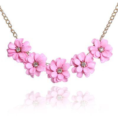"""Колье """"Цветочное настроение"""" георгины малые, цвет розовый в золоте"""