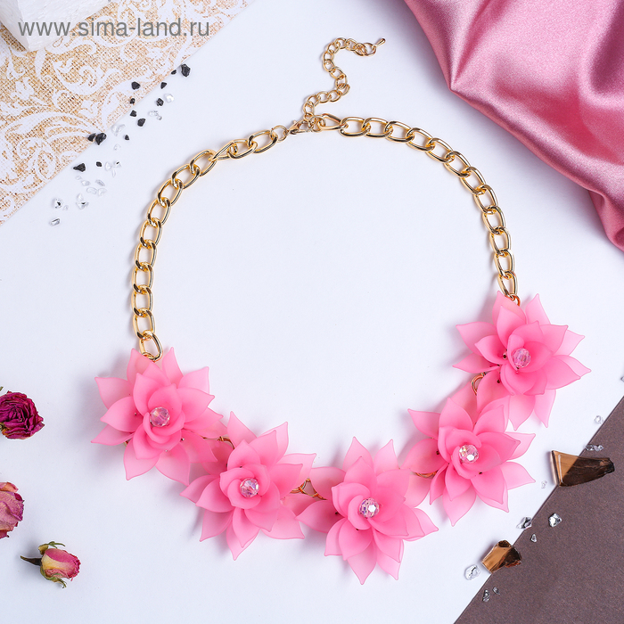 """Колье """"Цветочное настроение"""" камелия, цвет розовый"""