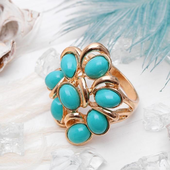 "Кольцо ""Цветок"" пион, цвет бирюзовый в золоте, размер 17,18,19 микс"