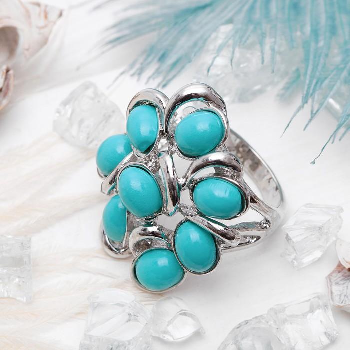 """Кольцо """"Цветок"""" пион, цвет бирюзовый в серебре, размер 17,18,19 микс"""