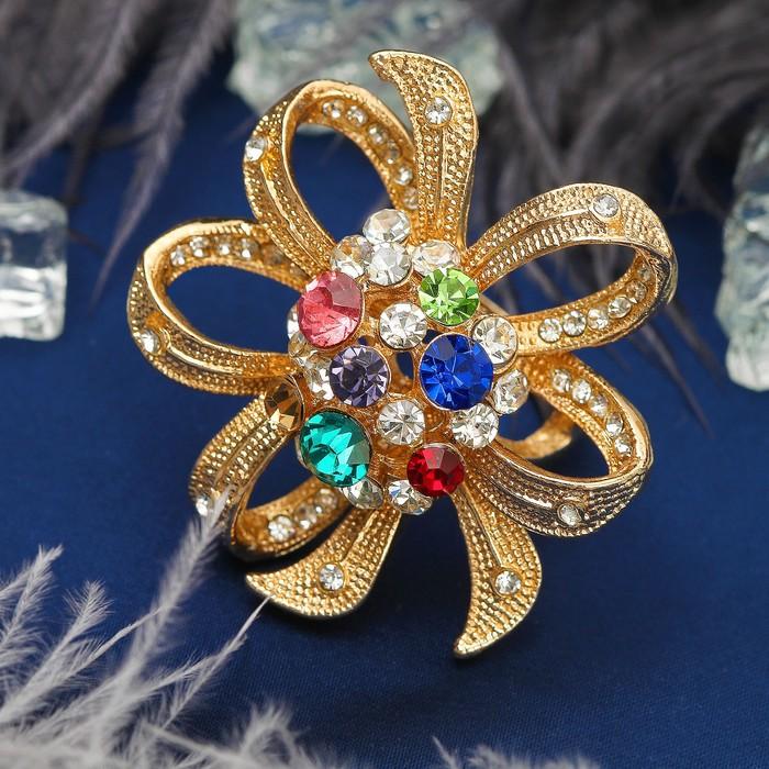 """Кольцо """"Роскошь королевы"""" цветок, цветное в золоте, размер 17,18,19 микс"""