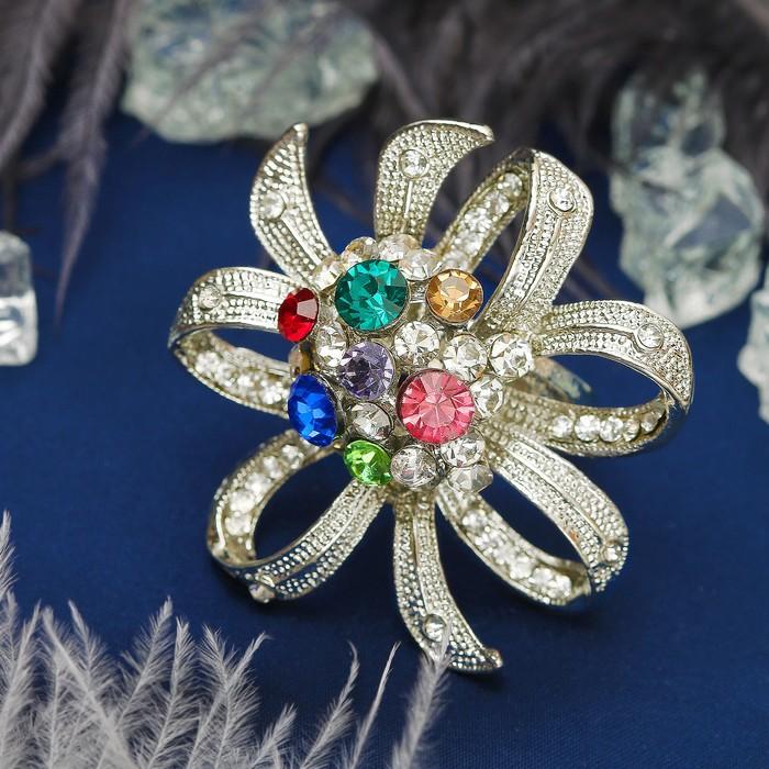 """Кольцо """"Роскошь королевы"""" цветок, цветное в серебре, размер 17,18,19 микс"""