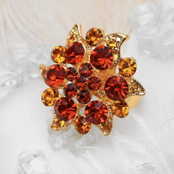 """Кольцо """"Цветок"""" райский, цвет янтарный в золоте, безразмерное"""