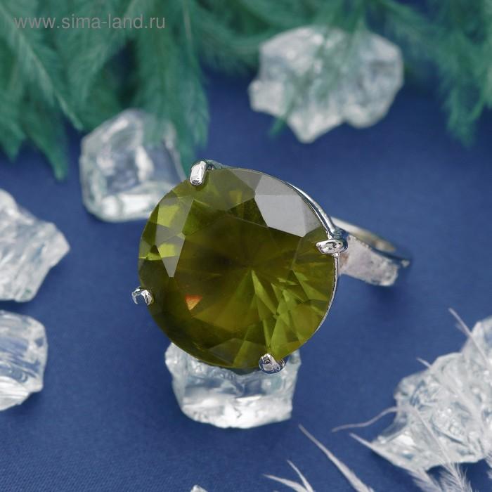 """Кольцо """"Классический мотив"""" круг, цвет зелёный в серебре, размер 17,18,19 МИКС"""