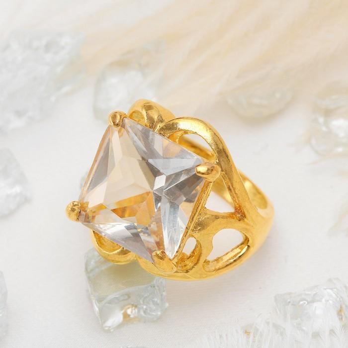 Кольцо ''Классический мотив'' квадрат в ажуре, цвет белый в золоте, размер 17,18,19 МИКС   1503238