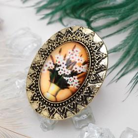Кольцо с рисунком 'Букет в вазе' цветное в чернёном золоте, безразмерное Ош