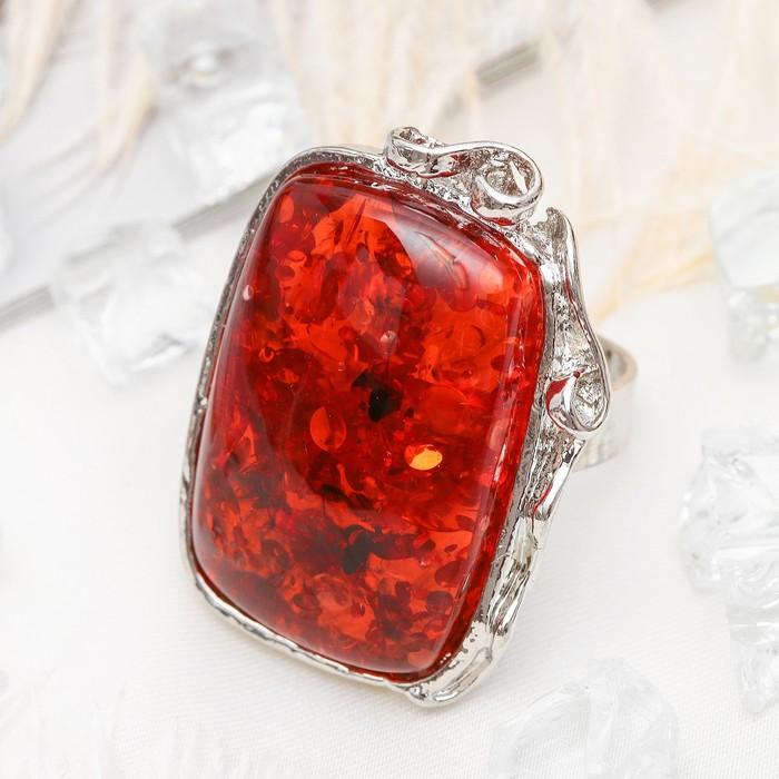 """Кольцо """"Изыск"""" прямоугольник, цвет ярко-янтарный в серебре, безразмерное"""