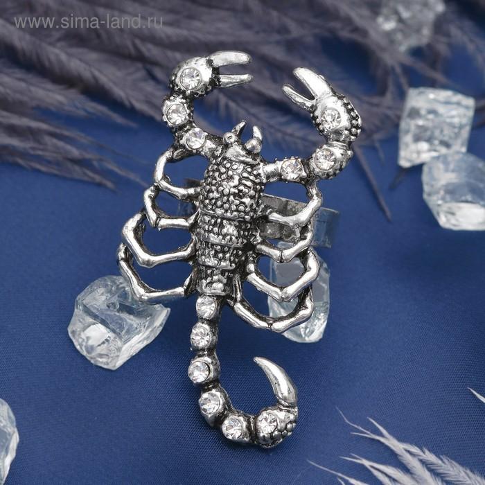 """Кольцо """"Скорпион"""", цвет белый в чернёном серебре, безразмерное"""