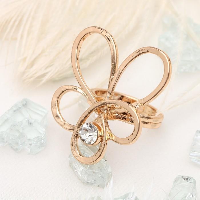 """Кольцо """"Цветок"""" эскиз, цвет белый в золоте, размер 17,18,19 микс"""