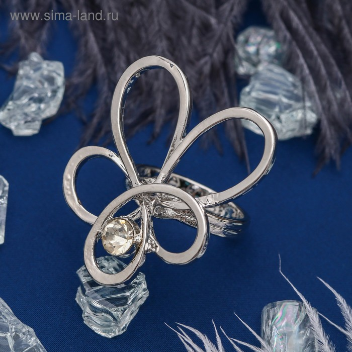 """Кольцо """"Цветок"""" эскиз, цвет белый в серебре, размер 17,18,19 микс"""
