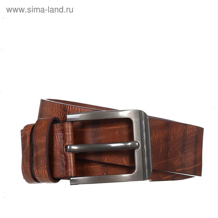 Ремень мужской, винт, пряжка - металл, ширина - 4, 2см, коричневый