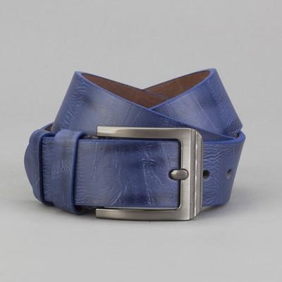 Men's belt, screw, buckle - metal, width - 4, 2cm, blue