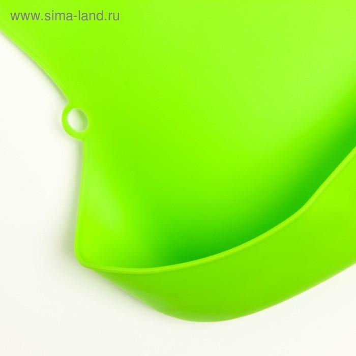 Нагрудник с карманом, силиконовый, цвет зелёный