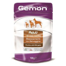 Влажный корм Gemon Dog Pouch для собак, кусочки дичи, пауч, 100 г