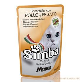 Влажный корм Simba Cat Pouch для кошек, курица с печенью, пауч, 100 г