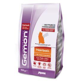 Сухой корм Gemon Cat Hairball для выведения шерсти у взрослых кошек с курицей и рисом 400 г
