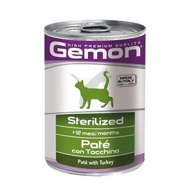 Влажный корм Gemon Cat Sterilised для стерилизованных кошек, паштет индейка, ж/б, 400 г