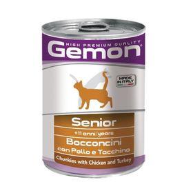 Влажный корм Gemon Cat для пожилых кошек, кусочки курицы с индейкой, ж/б, 415 г