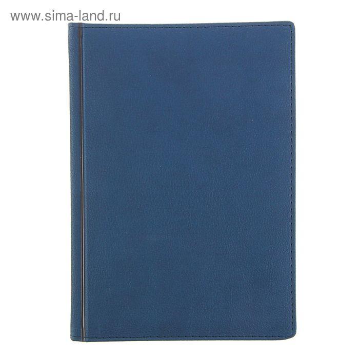 Ежедневник датированный 2017г А5+, 176 листов LEADER, белый блок, ляссе, синий
