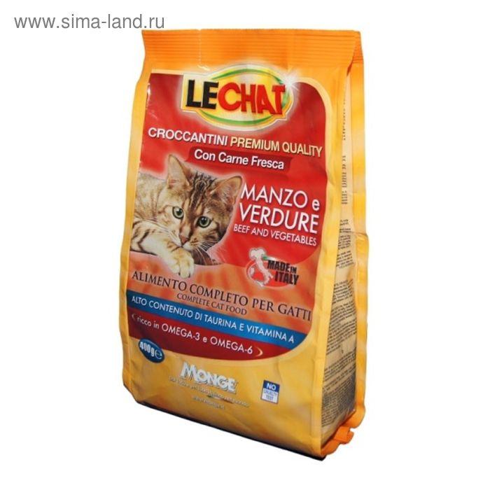 Сухой корм Lechat Cat  для кошек, с говядиной и овощами, 400 г