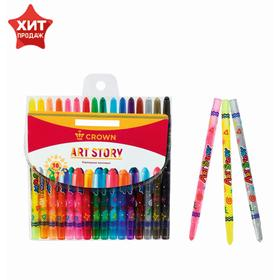 Twisting wax crayons, 16 colors, Art Story.