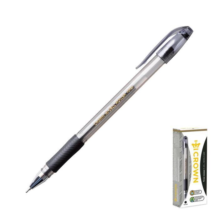 Ручка гелевая стандарт резиновый упор Crown HJR-500RNB черная, узел-игла 0.7мм