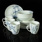 "Набор посуды ""Соната. Океан"" 16 предметов: 4 кружки 370 мл, 4 тарелки мелких d=19 см, 4 тарелки мелких d=22 см, 4 салатника 500 мл"