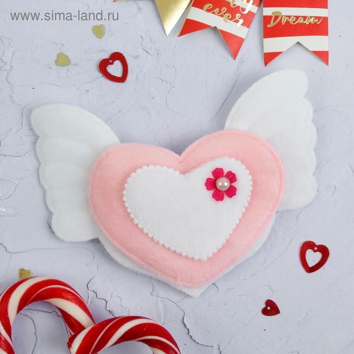 """Мягкая игрушка-магнит """"Сердце с крыльями"""", цвета МИКС"""