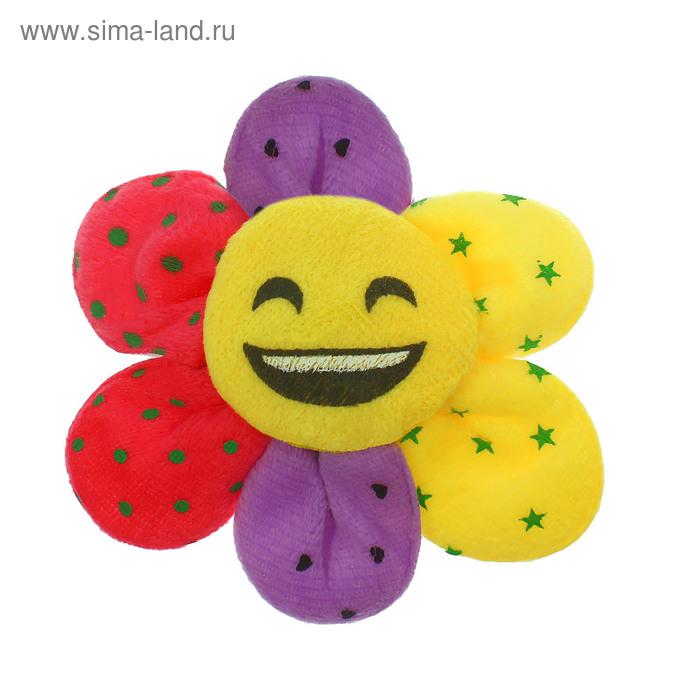 """Мягкая игрушка-магнит """"Цветочек-смайлик"""", цвета МИКС"""
