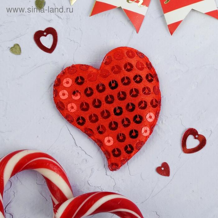 """Мягкая игрушка-магнит """"Сердце в пайетках"""", цвет красный"""